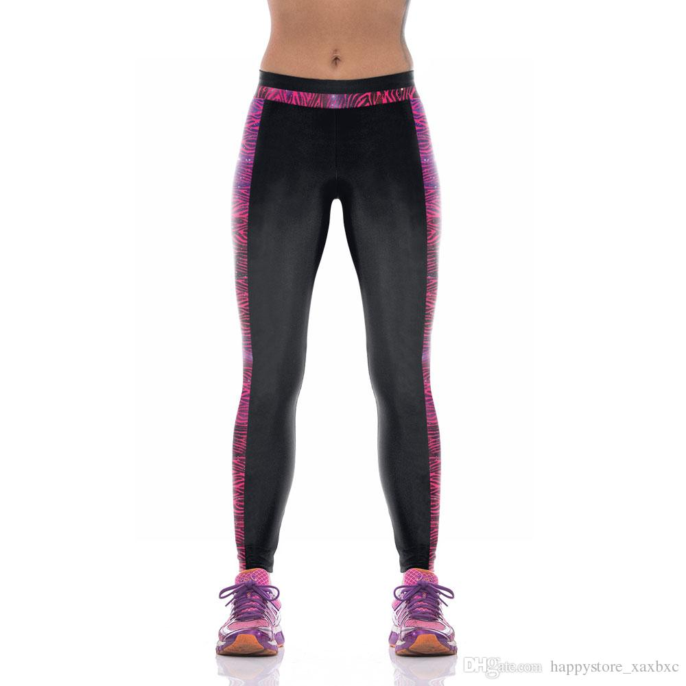 2017 New KYK1086 Fashion Solid Striped 3D Prints Sexy Girl Pencil Yoga Pants GYM Fitness Workout High Waist Women Leggings