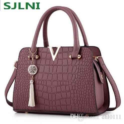 6e637b13d Moda cocodrilo de cuero genuino bolsos de las mujeres bolsos famosos de la  marca del diseñador Bolsos de mano de las señoras de lujo y monederos bolsos  de ...