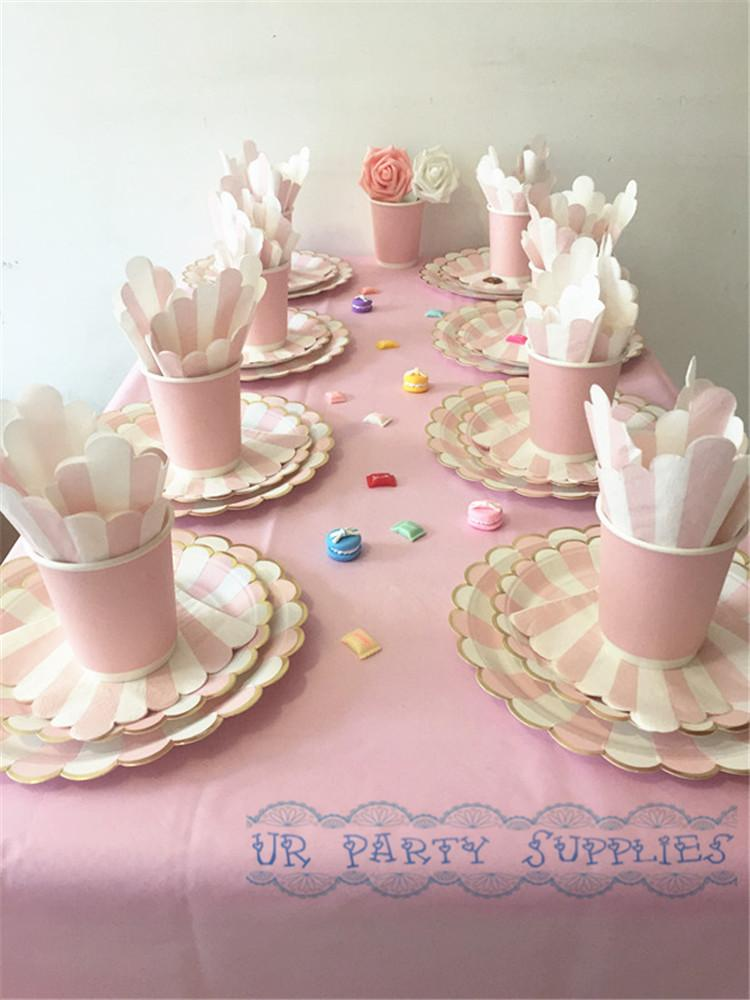 2018 Wholesale Pink And Gold Party Tableware Set With Table Cover Paper Plates Cups Napkins Drinking Straws Birthday Wedding Tableware From Shuishu ... & 2018 Wholesale Pink And Gold Party Tableware Set With Table Cover ...