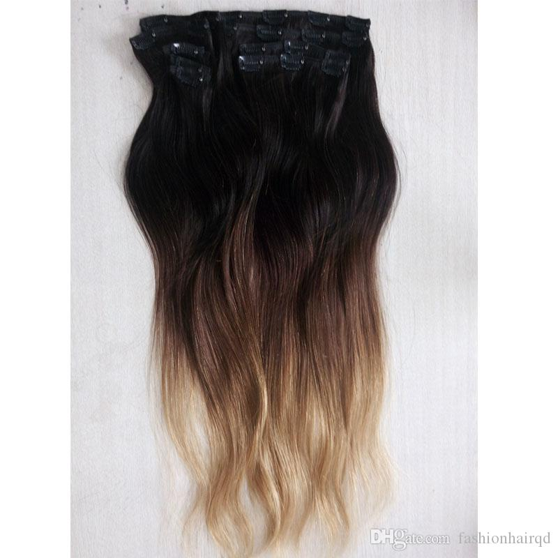 Long Ombre Clip In Remy Human Hair Extensions T1b 4 27 Three Tone Straight Indian Virgin Hair Clip Ins 160g 24-28 inch