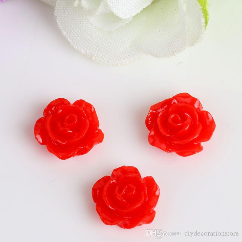 Nouveau Livraison Gratuite 100 Aléatoire Mixte Résine Rose Fleur Trou Flatback Cabochon Scrapbooking