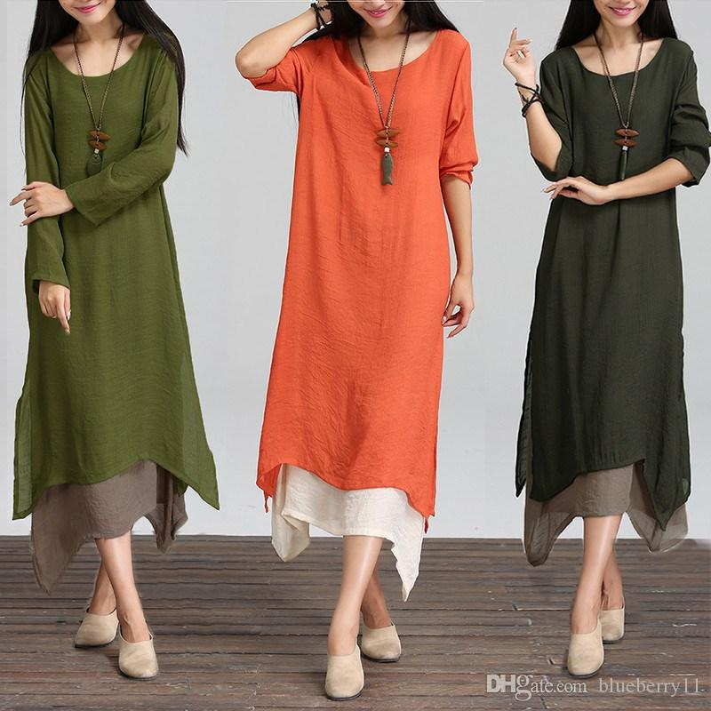 ab0b798051c9 Fashion Autumn 2017 Women Dress Cotton Linen O Neck Long Sleeve Casual  Loose Boho Long Maxi Dresses Vestidos Plus Size L 2XL Yellow T Shirt Dress  Dress For ...