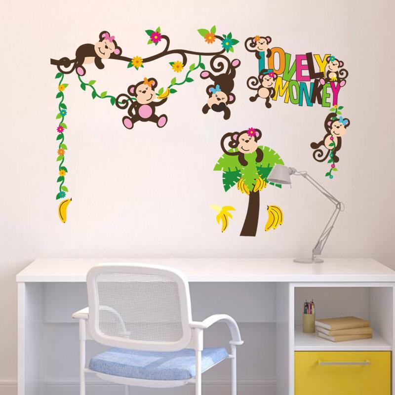 lovely monkeys wall sticker diy pvc cartoon animal and tree wall