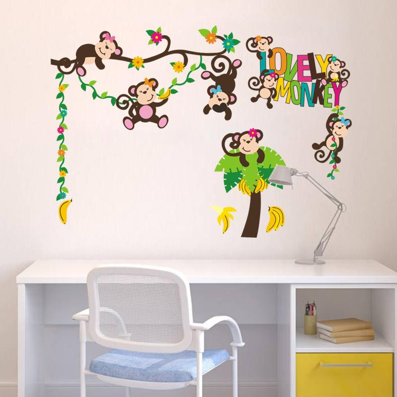 Monkeys Wall Stickers Murals For Children Diy Animals And Tree Wall Decals  For Kids Room And Nursery Decoration White Vinyl Wall Decals White Wall  Decals ... Part 94