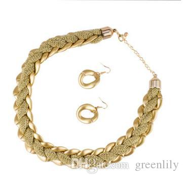 chains dumb earrings gold female product ornaments net chain twist necklace european cloth store ladies set
