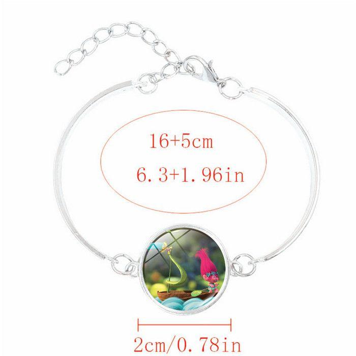 Hot! Anime Jewelry with Silve Plated DreamWorks Trolls Poppy Pattern Charm Statement Bracelet Bangle for Children Women