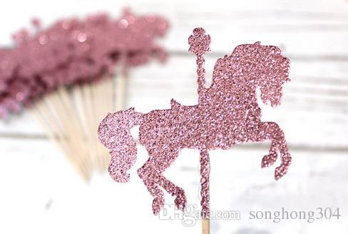 Glitter Carousel Horse Gold Cupcake Toppers Magic Party Decoration