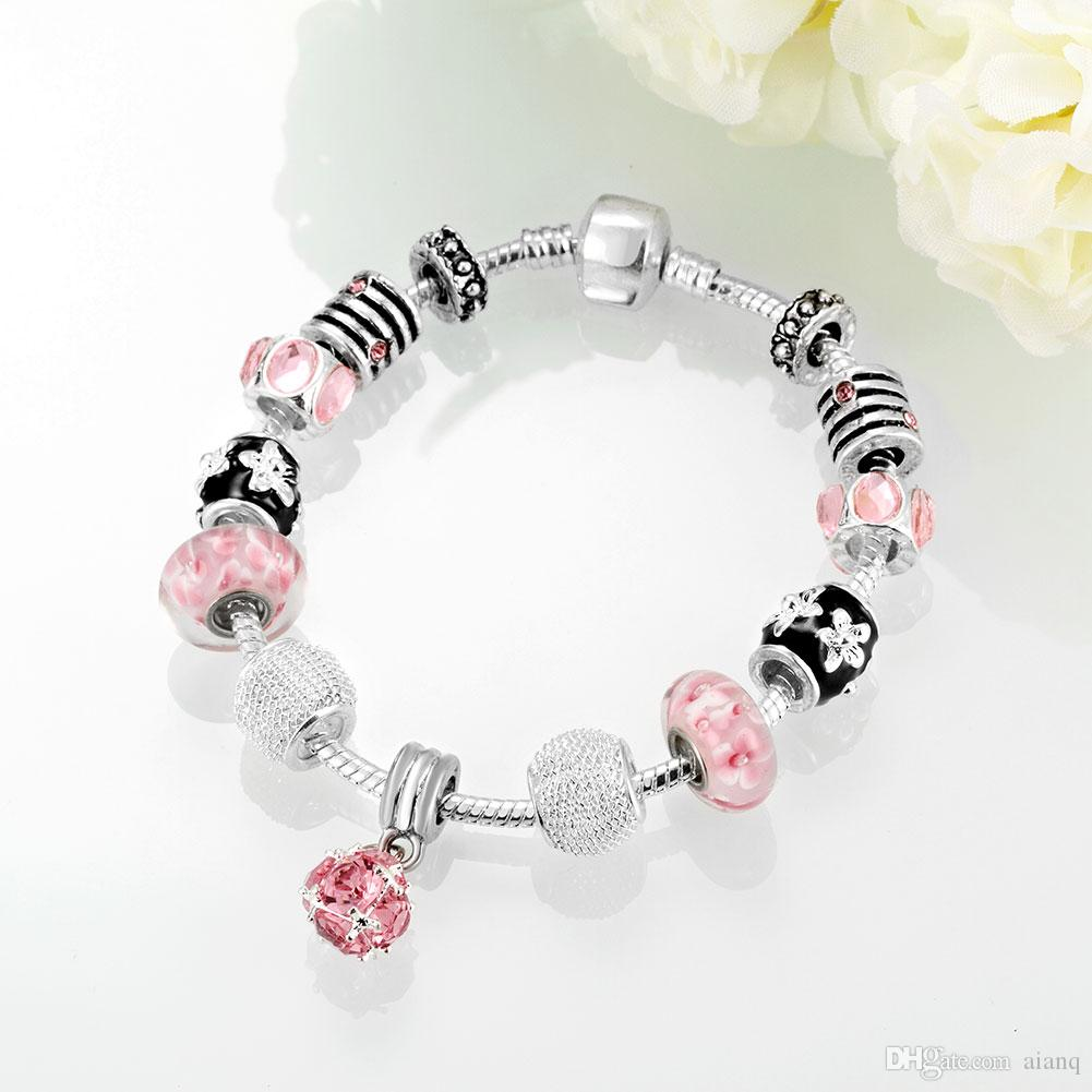 Silver Color Crystal Charm Pink Glass Beads Women Party Gift Friendship Bracelet Round Female Bracelets Fashion Jewelry