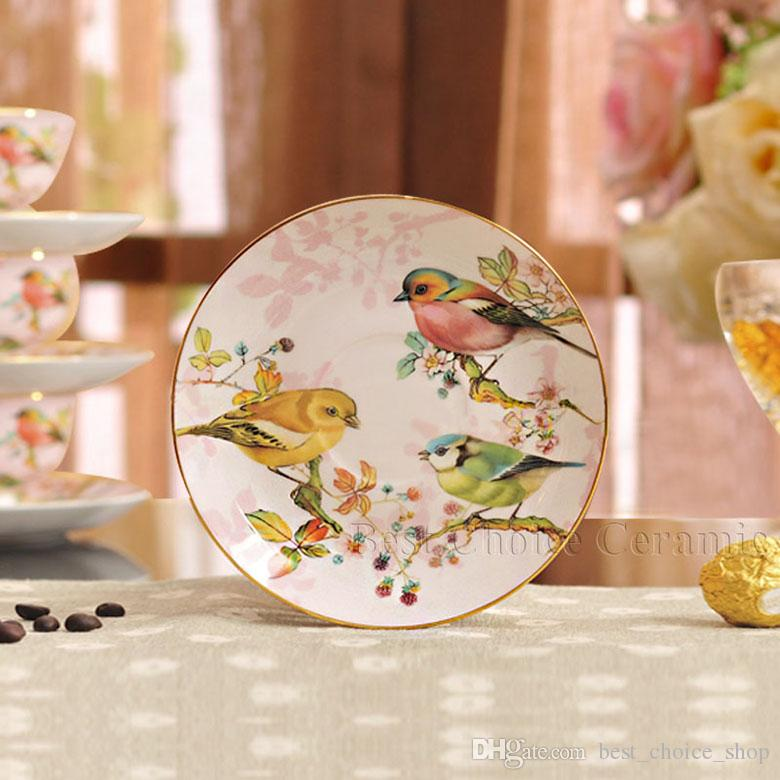 Porcelain tea cup and saucer ultra-thin bone china flowers and birds pattern design outline in gold coffee cup and saucer set