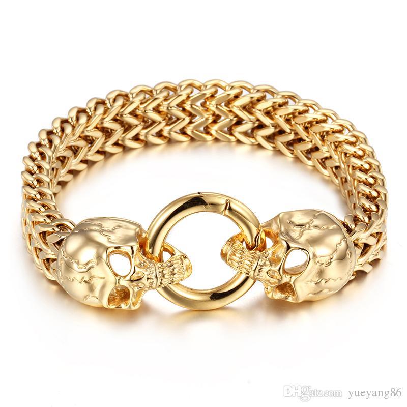 Cadeaux Cool hommes motards acier or double figaro Bracelet chaîne loup / lion / crâne Têtes fermoir Bracelet