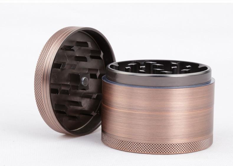 뜨거운 판매 새로운 스타일 4 레이어 63mm 알루미늄 합금 분쇄기 새로운 색상 청동 허브 금속 흡연 그라인더 LV630