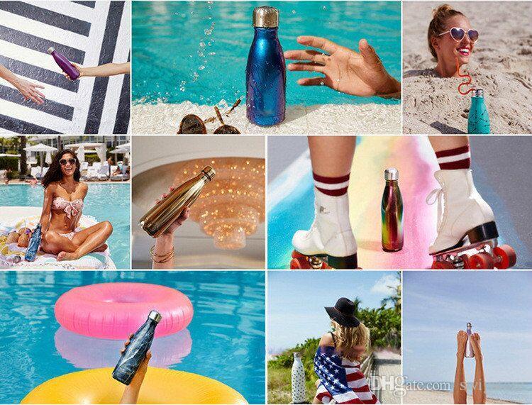 304 Aço Inoxidável 500 ml Cola Colorida Garrafa Coca-Cola copo de Cerveja Caneca Criativa Copo Copo De Vácuo De Café Esporte Garrafa De Água De Boliche Forma Bowling