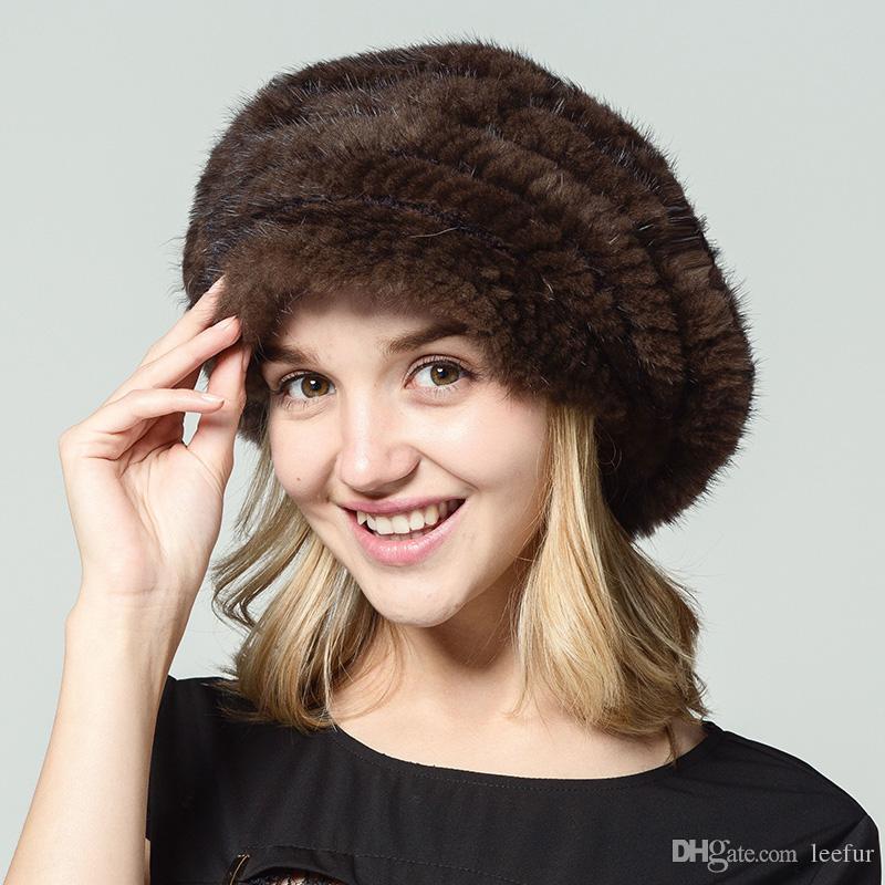 Compre Ms.Leefur Real Punto De Piel De Visón Sombrero Casquillo ...