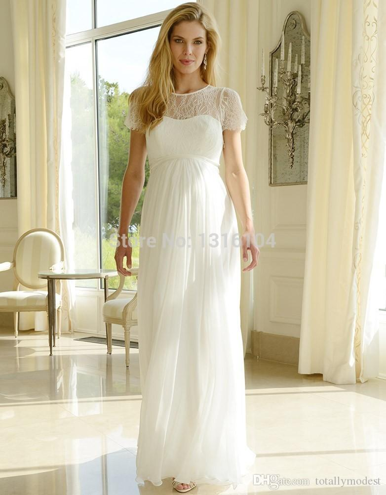 78f71e411a Cheap Modest Long Lace Chiffon Maternity Wedding Dresses With Cap Sleeves  Empire Waist Bridal Gowns For Pregnant Women Boho Brides' Dress