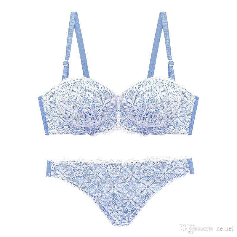 1a612f245bce8 2019 1 2 Cup Full Lace Small Young Girls Push Up Bra And Panty Set  Adjustable Sexy Underwear Thicken Women Intimates Bra Brief Sets From Neinei