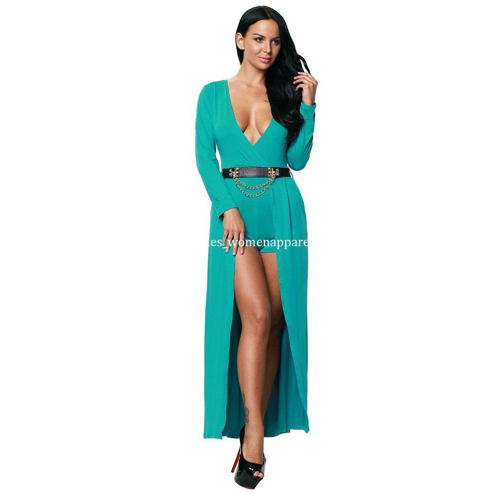 Fashion Autumn Women Green Deep V Neck Party Dresses Back Hollow Out ...