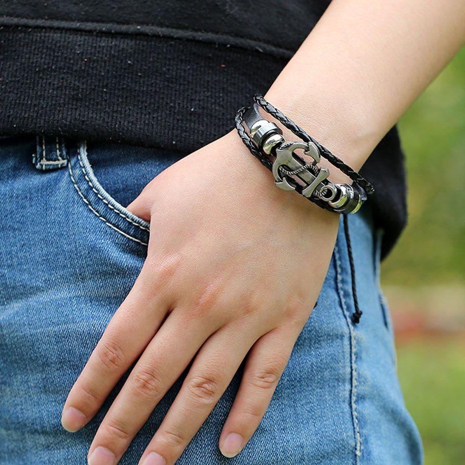 Multilayer weave leather stainless steel anchor punk bracelets 2018 hotsell whosale bracelets Best Gift bracelets
