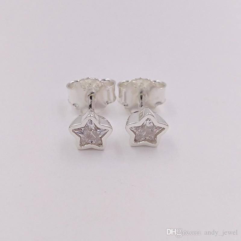 Authentic 925 Sterling Silver Studs Star Silver Stud Earrings With Clear Cz Fits European Pandora Style Jewelry