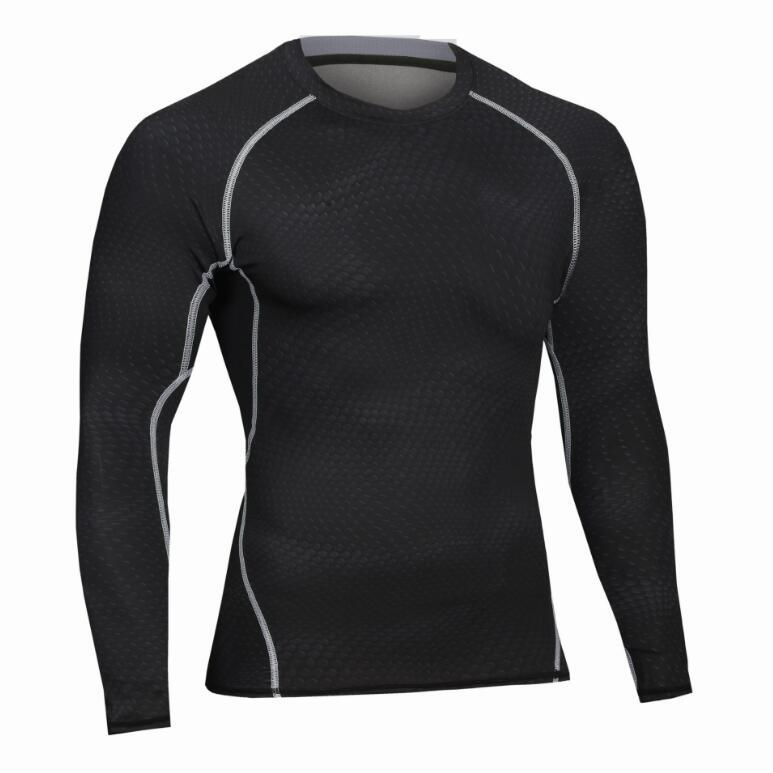 Male Autumn Winter Sports Cycling Fitness Long Sleeves T Shirt Basketball Running Training Stretch Fast Dry Tight Gym Cloth