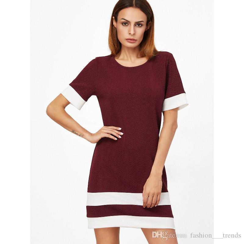 Дамы Цвет Блока Случайные Мини-Платья Новый Летний Стиль Черный Белый Лоскутное Круглый Вырез С Коротким Рукавом Shift Dress Женская Одежда Vestidos