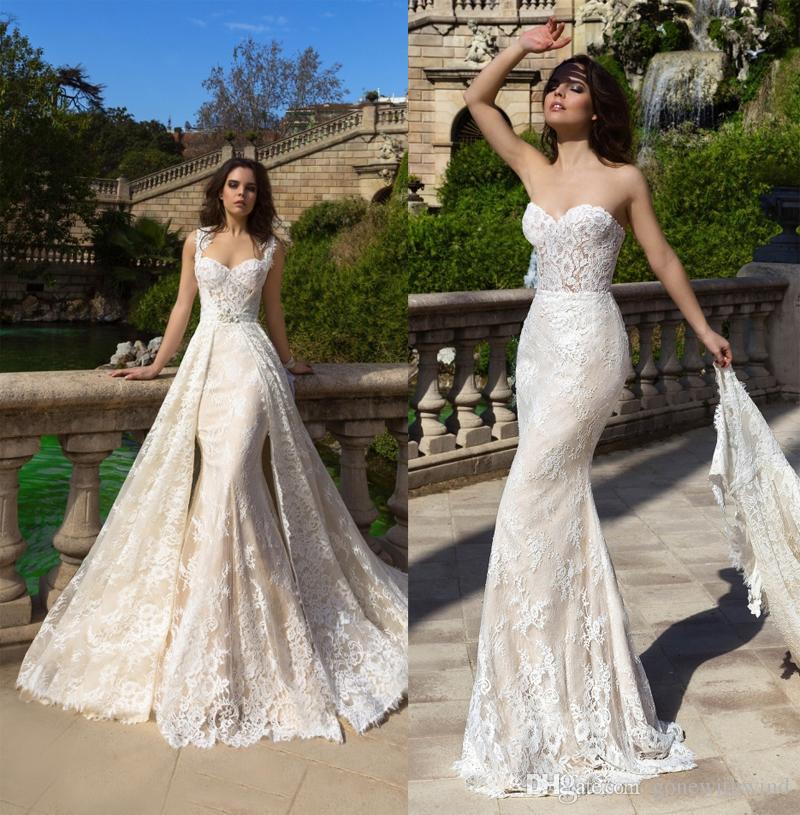 Datchable Royal Train Mermaid Lace Wedding Dresses 2017 Crystal