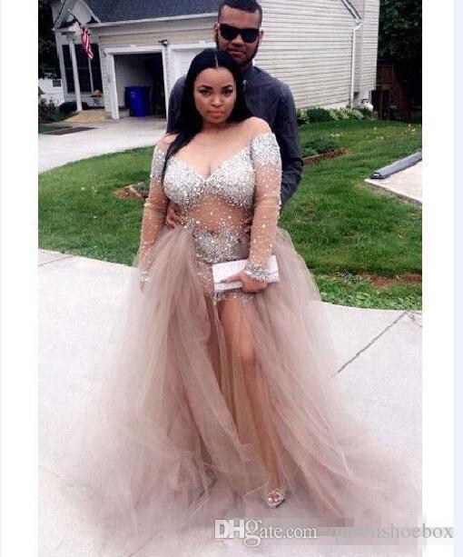 2017 Luxury Bling Sparkle Plus Size Evening Dresses Black Girl Prom Dress Sheer Bodice Bead Crystal Formal Party Gowns Vestidos De Festa