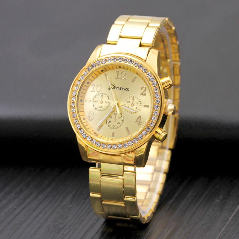 Fashion Women geneva metal steel alloy watch fashion luxury ladies dress quartz diamond Analog gift mens watches DHL free