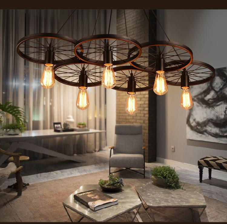 Loft retro Luz de hierro Ruedas de bicicleta Luces colgantes Lámpara de techo de época E27 Bombilla de luz de época ST64 Bombilla de Edison Lámpara de techo Droplight
