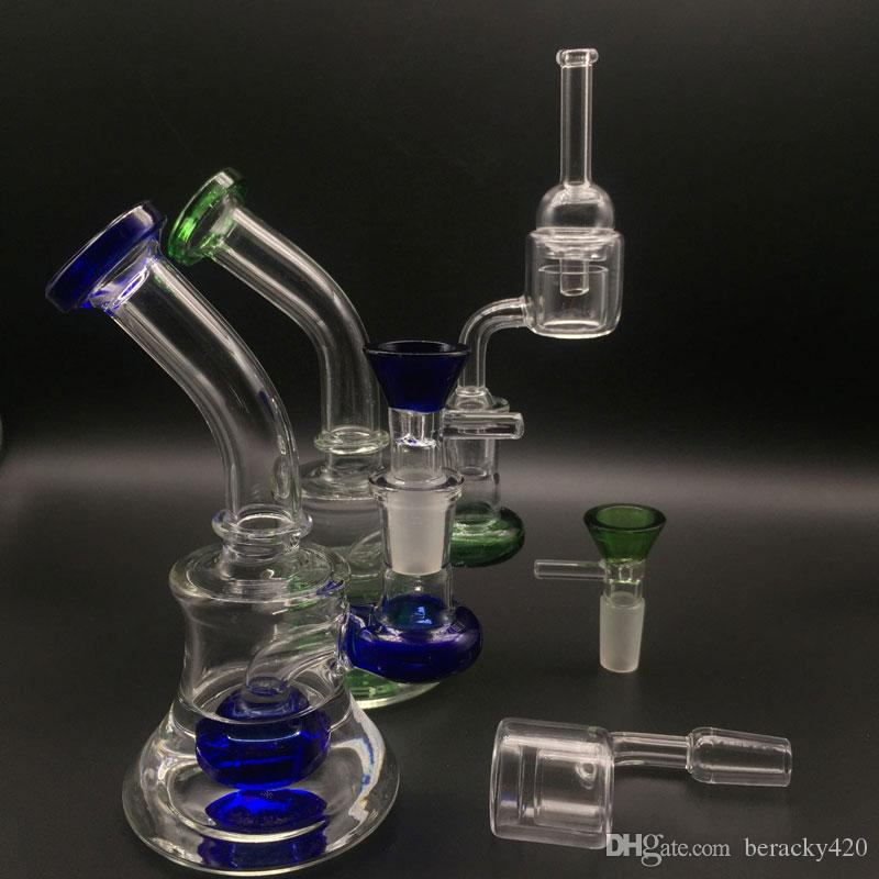 """Mini Glass Bongs Oil Rigs With Quartz Thermal Banger sets & glass carb cap and colorful Glass Bowls 6"""" Heady Beaker bong Water Pipes"""