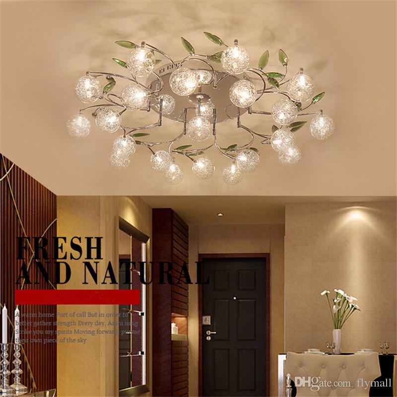 Großhandel LED Deckenleuchte Modern Green Leaves Light Crystal Ball  Deckenleuchte Aluminium Wire Deckenleuchte Wohnzimmer Kronleuchter 6/10/15  ...