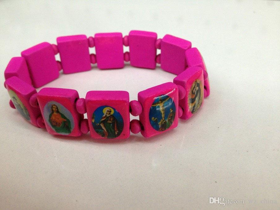 Good Wood Jesus Bracelets Religious Wooden Hand Decoration Jewelry UK Stretch Rosary Bead Bangle Bracelet Lose Money