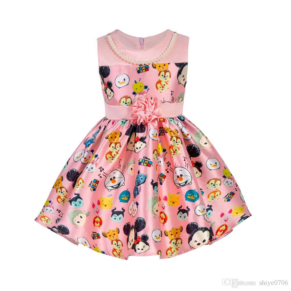 Großhandel Neue Mädchen Karikatur Rosa Kleid Partei Kleider Baby ...