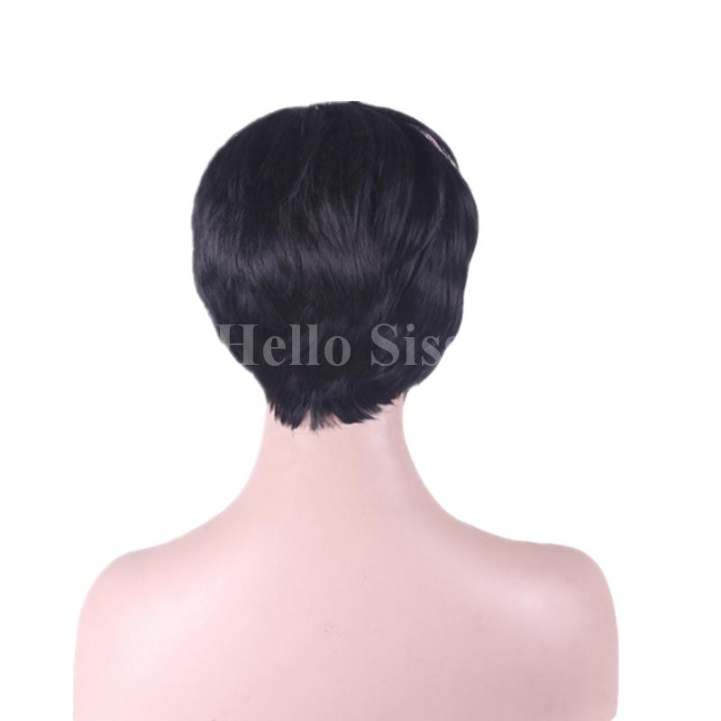 Machine made Virgin cut human hair bob style pixie 100% human hair wigs for black women short glueless full lace wigs Top Quality