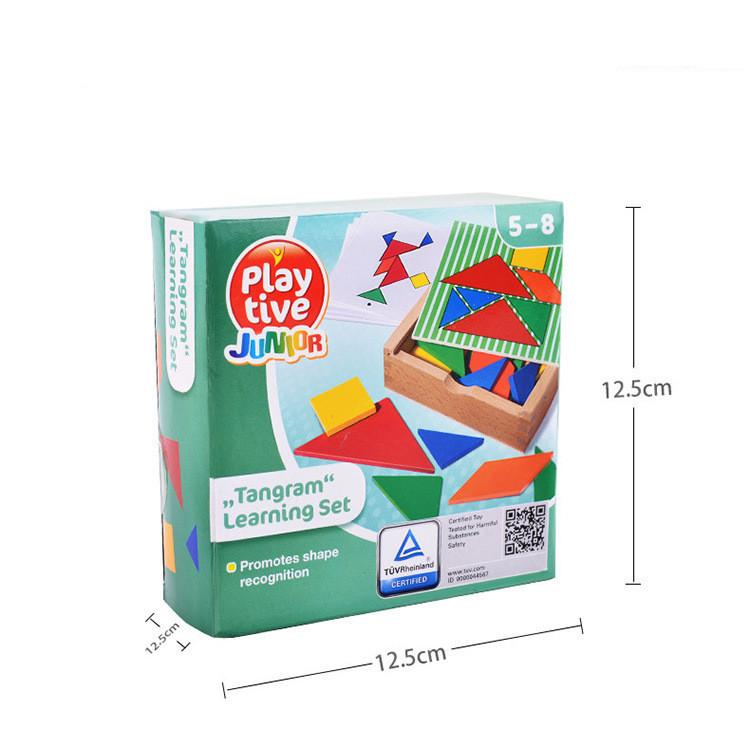 32 unidades de color cambiadas DIY Rompecabezas Jigsaw Toys Wooden Children Juguetes educativos Baby Play Tive Junior Tangram Learning Set