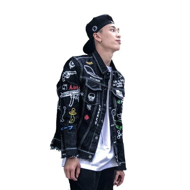 354871fd90b1 Men Denim Jacket Graffiti Hand Painted Outwear Hip Hop Punk Youth Man  Frayed Cowboy Coat Motorcycle Overcoat Denim Fur Jacket Black Coat Mens  From ...