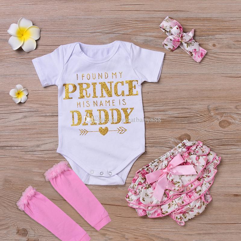 Baby Girl Ropa conjuntos Infant In Insper Momber + Pantalones cortos florales y Pantalones cortos de cabeza Conjunto Encontré a mi princesa Su nombre es Daddy M3443 K041