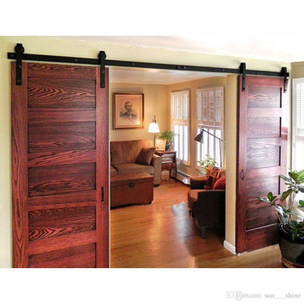 2018 8ft Antique Double Sliding Barn Door Hardware Roller Track Kit Black  Surface Frosted For Outside Or Inside From Sun___shine, $160.81 | Dhgate.Com - 2018 8ft Antique Double Sliding Barn Door Hardware Roller Track Kit