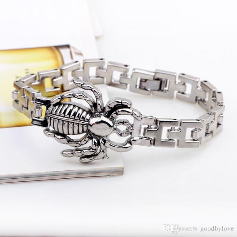 Nuovi gioielli moda uomo acciaio al titanio gocciolare ragno animale 19cm catena bracciali braccialetti amico ragazzo regalo festivo caldo