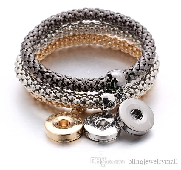 New Gold Silver Black Snap jewelry Bracelet For Women Fit DIY 18mm Snap Jewelry Elastic ginger snaps interchangeable jewelry ZA0023