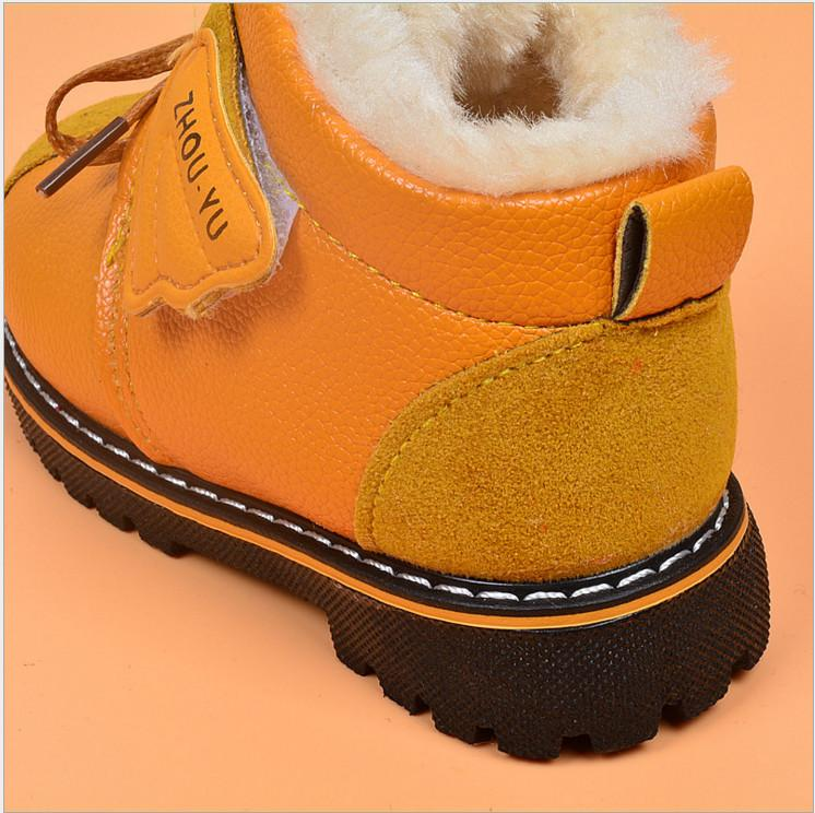 Hot sale 2017 new fashion casual warm thicken winter ankle short boots shoes girl boy kids child plush pu rubber hook loop 5.5-12.5