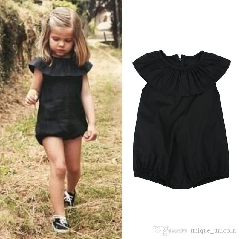 2017 Ins Hot Selling Baby Girl Summer Lotus Collar Rompers Infant Toddlers Soft Cotton Jumpsuit Newborn Baby Pure Black Rompers
