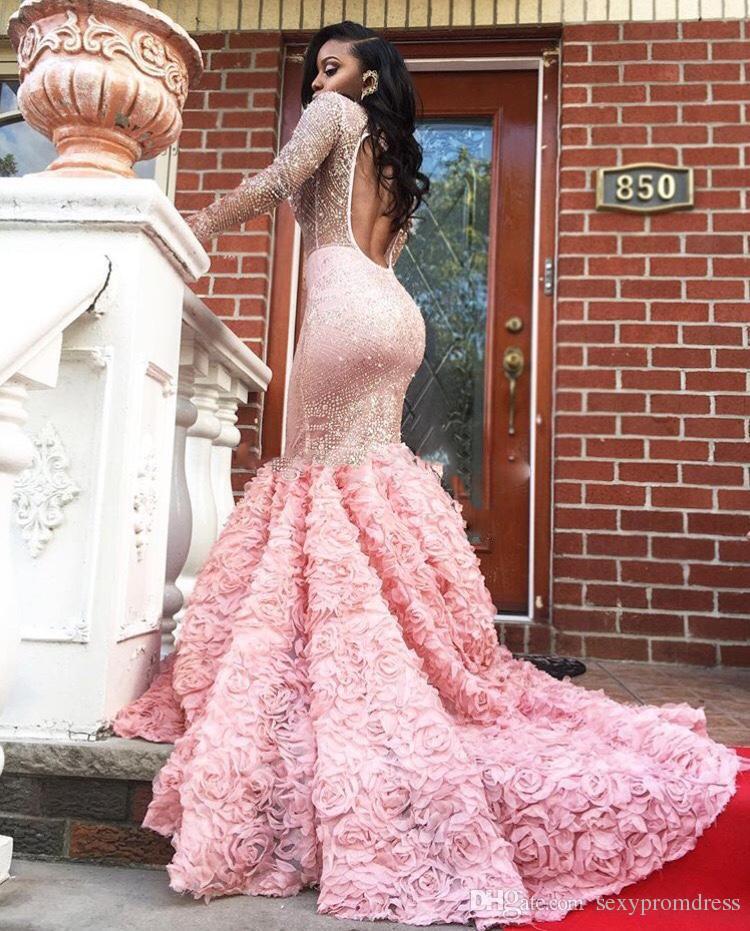 Gorgeous 2k17 rosa manga larga vestidos de baile sexy ver a través de mangas largas espalda abierta sirena vestidos de noche vestido de fiesta formal sudafricano
