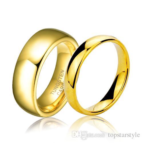 연인 6mm 와이드 핫 판매 패션 쥬얼리 반지 커플 IP 금 텅스텐 반지 높은 폴란드어 클래식 쥬얼리 남성과 여성을위한 손가락 반지