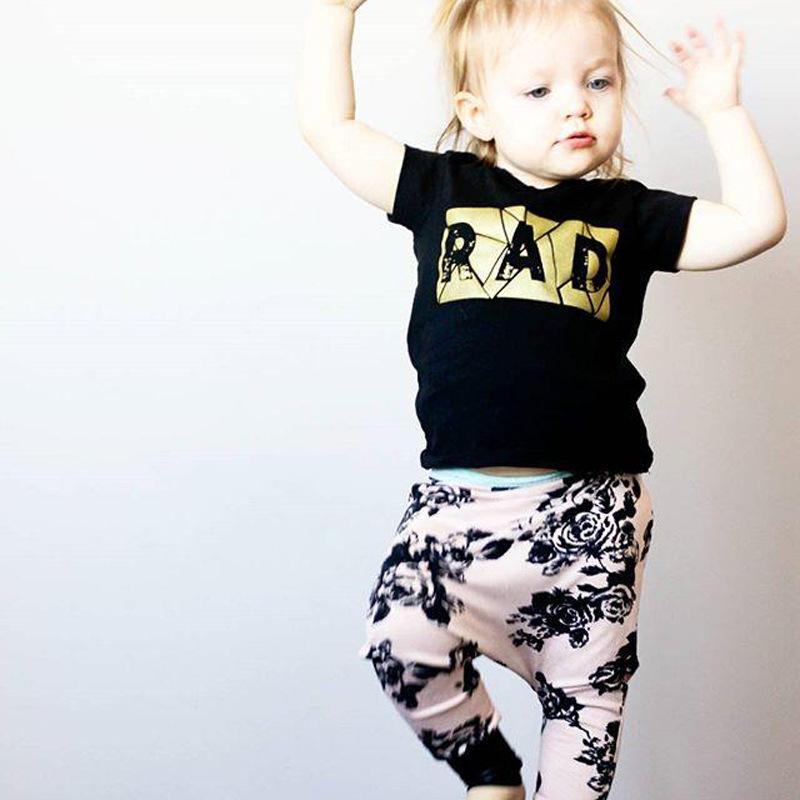 Summer Children Clothing Sets Baby Girl Boy Letter Printed Tops T-shirt+Floral Pants 2Pcs Sets Kids Outfits Children Summer Clothing Suits
