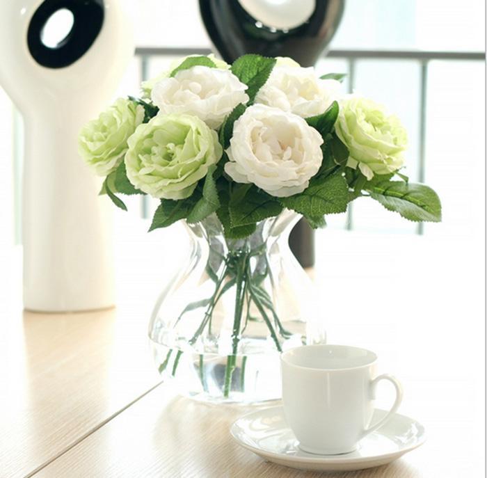 GroßhandelsCharming Artificial Silk Gewebe-Rosen Pfingstrosen Blumen Blumenstrauß Weiß Rosa Orange Grün Rot für die Hochzeit nach Hause Hotel Dekor