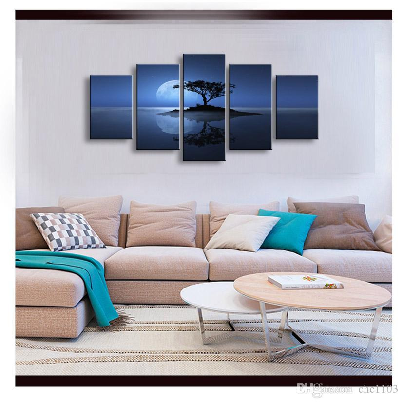 5 Panel tree Painting Canvas Wall Art Picture Home Decoration Living Room Canvas Print Modern Painting--Large Canvas Art Cheap SD-015