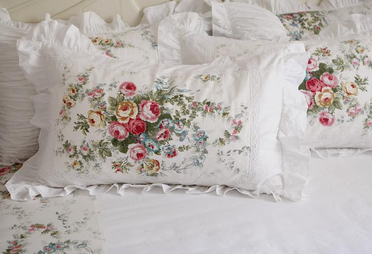 rural style falbala bud lace bed skirt bedding set flower pictures 100% cotton fabric with reactive printing queen king duvet covers