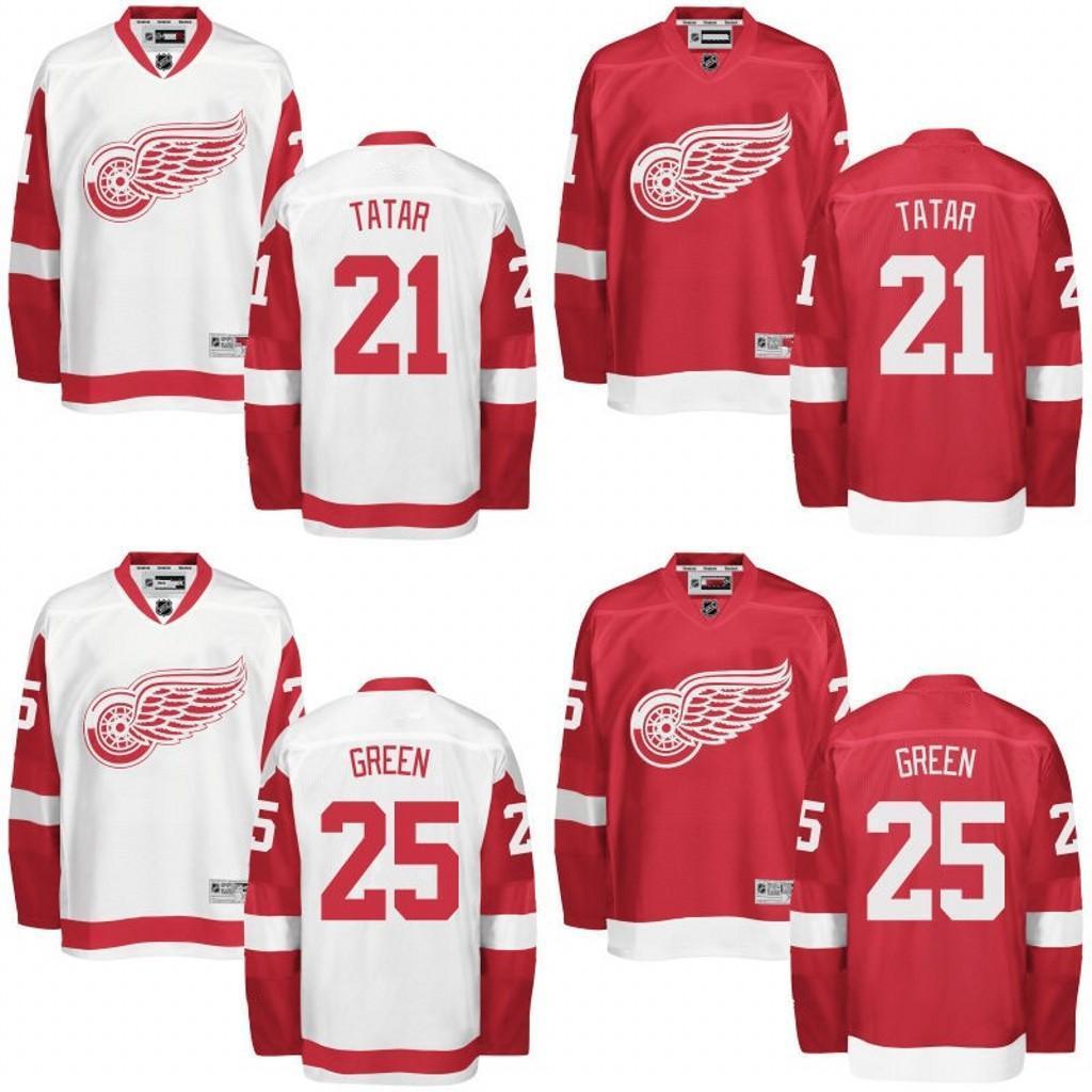 52ce61105c9 ... Reebok 2017 2016 Men Detroit Red Wings Jerseys 21 Tomas Tatar 25 Mike  Green Jersey White Red ...