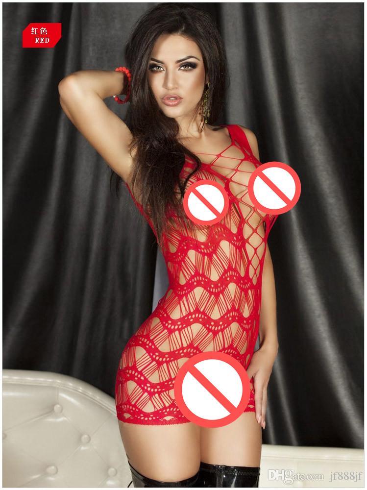 Красный / черный / желтый сексуальное женское белье Babydolls крючком чистой сетки выдалбливают сорочки женщины пижамы платье пижамы нижнее белье прозрачный