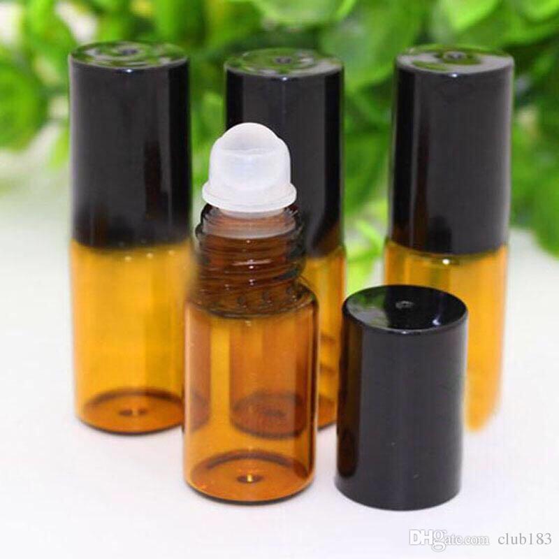 3ml all'ingrosso ambrato Vetro Spesso Rotolo di oli essenziali bottiglie di profumo Profumi Vial + acciaio inossidabile Rullo a sfera con cappuccio nero o oro